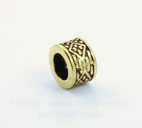 """Бусина металлическая """"Ромбики"""" (цвет - античное золото) 8х5 мм, 10 штук ()"""