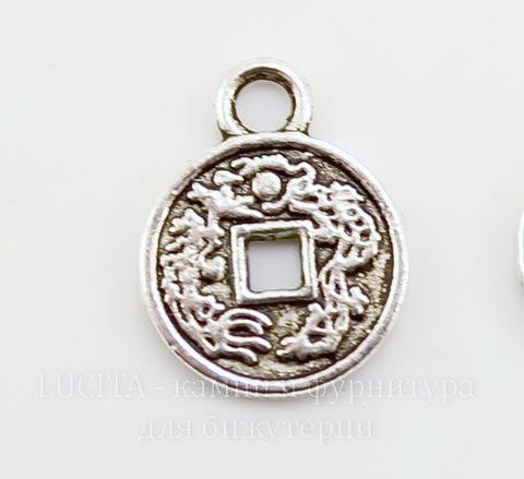 """Подвеска """"Китайская монета счастья"""" 13х10 мм (цвет - античное серебро)"""