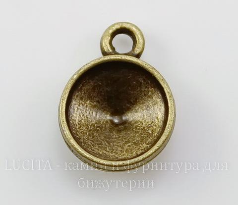 Сеттинг - основа - подвеска для страза 10 мм (цвет - античная бронза) 16х12 мм