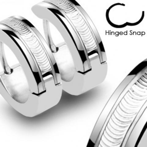 Мужские серьги кольца из нержавеющей ювелирной медицинской хирургической стали 316L SPIKES SSE-006