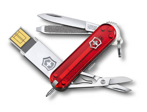Нож-брелок Victorinox@work USB 32 Гб, 58 мм, 8 фнк, красный полупрозрачный