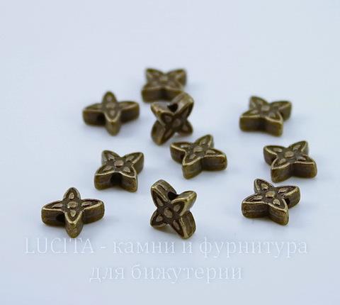 """Бусина металлическая """"Цветочек"""" (цвет - античная бронза) 7х2 мм, 10 штук"""