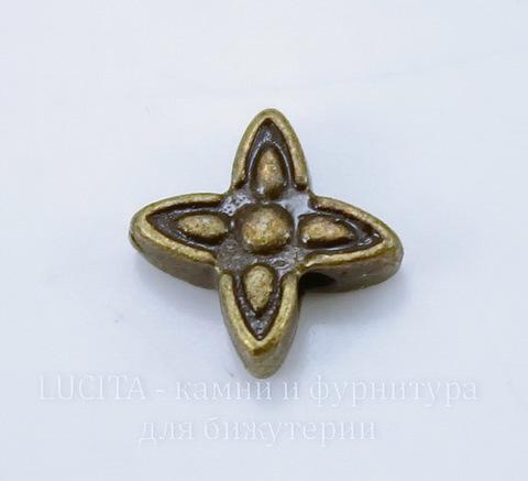 """Бусина металлическая """"Звездочка"""" 7х2 мм (цвет - античная бронза), 10 штук"""