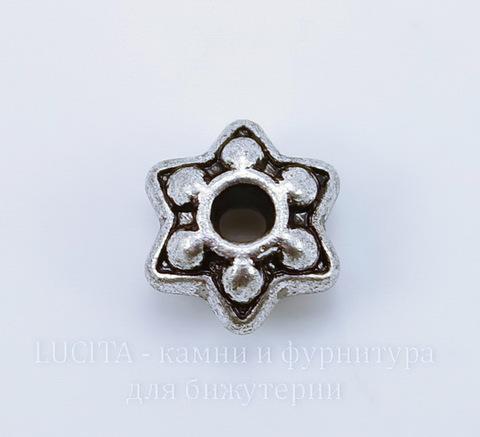 """Бусина металлическая """"Звездочка"""" (цвет - античное серебро) 9х5 мм, 10 шт"""