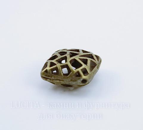 "Бусина металлическая ""Мозаика"" (цвет - античная бронза) 17х17 мм"