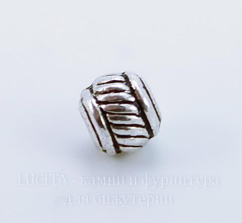 Бусина металлическая (цвет - античное серебро) 5х5 мм, 10 штук ()