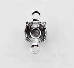 Сеттинг - основа - коннектор (1-1) для страза 6 мм (цвет - платина) 11х6 мм