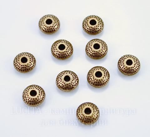 Бусина металлическая - рондель (цвет - медь) 9х5 мм, 10 шт