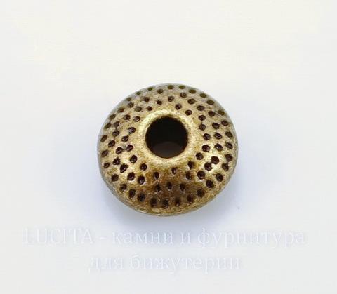 """Бусина металлическая - рондель """"Точки"""" (цвет - медь) 9х5 мм, 10 шт"""