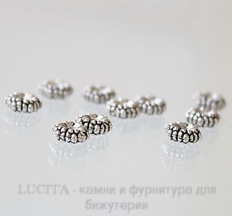 Бусина металлическая - спейсер (цвет - античное серебро) 5х5 мм, 10 штук ()
