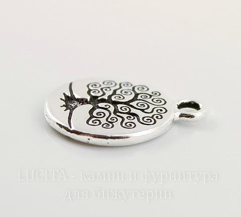 """Подвеска круглая TierraCast """"Дерево жизни"""" (цвет-античное серебро) 19х16 мм"""