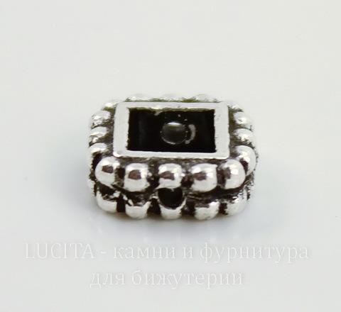 """Рамка для бусины квадратная TierraCast """"Бусинки"""" (цвет-античное серебро) 8,5х8,5х3 мм"""