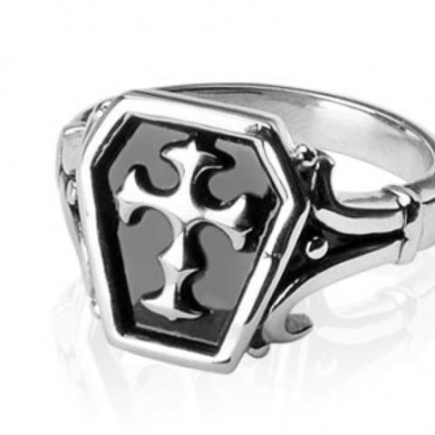Лёгкий изящный мужской перстень печатка из нержавеющей ювелирной медицинской хирургической стали 316L с крестом SPIKES R-H0210