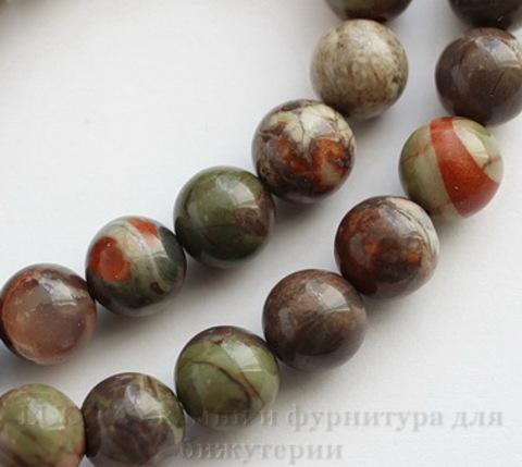 """Бусина Яшма """"Океаническая"""" (тониров), шарик, 8 мм, нить ()"""