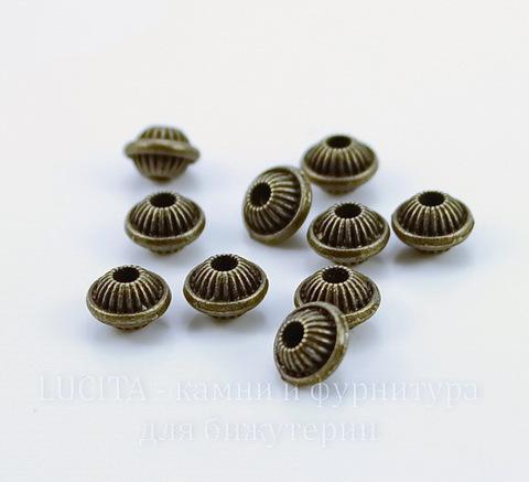 Бусина металлическая шарик с ободком (цвет - античная бронза) 7х6 мм, 10 штук