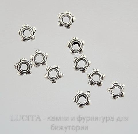 Бусина металлическая (цвет - античное серебро) 4х4 мм, 10 штук ()