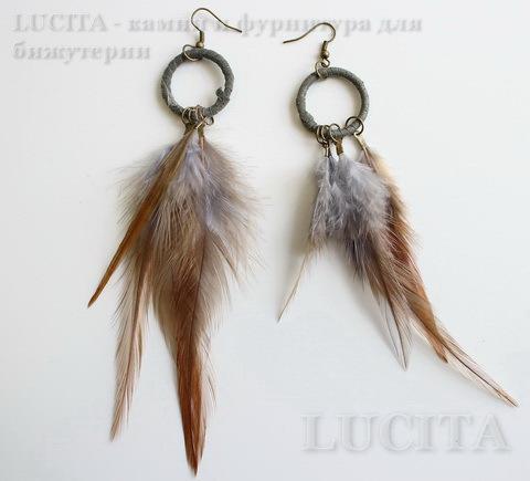 Серьги с перьями на колечке , цвет швенз - бронза , цвет пера - серо-коричневый ()