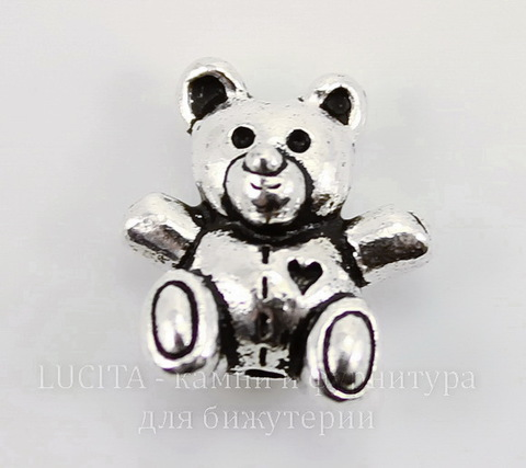 "Бусина TierraCast ""Мишка"" (цвет-античное серебро) 13х12 мм"