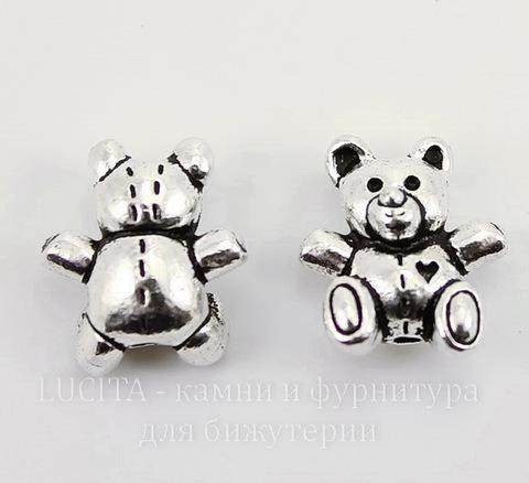 "Бусина TierraCast ""Мишка"" 13х12 мм (цвет-античное серебро)"