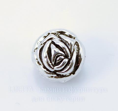"""Бусина металлическая """"Роза"""" (цвет - античное серебро) 10х9 мм"""