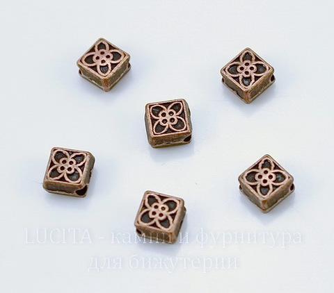 """Бусина металлическая """"Ромбик"""" (цвет - античная медь) 6х6 мм, 10 штук"""
