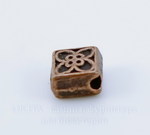 """Бусина металлическая """"Ромбик"""" (цвет - античная медь) 6х6 мм, 10 штук ()"""