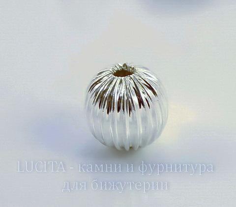 Бусина металлическая гофрированная (цвет - серебро) 10 мм