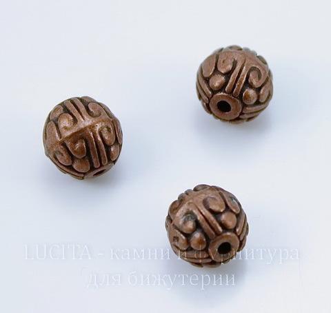 """Бусина металлическая """"Узоры"""" (цвет - античная медь) 11х10 мм"""