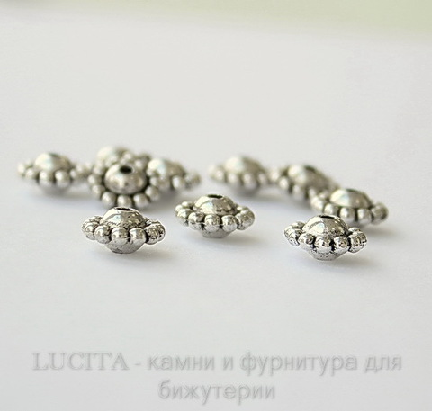 Бусина металлическая (цвет - античное серебро) 9х5 мм, 10 штук