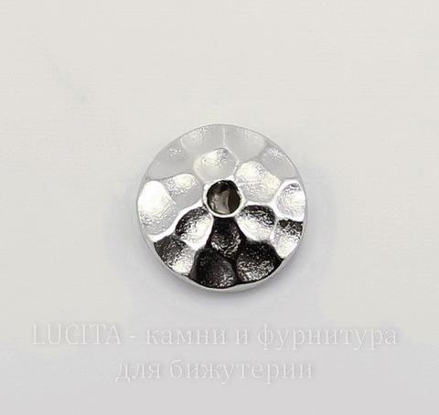 "Шапочка для бусины TierraCast ""Hammertone"" (цвет-платина) 6х2 мм"