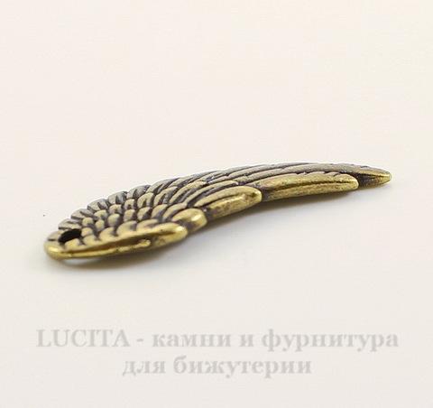 """Подвеска TierraCast """"Крыло"""" (цвет-античная латунь) 28х11 мм"""