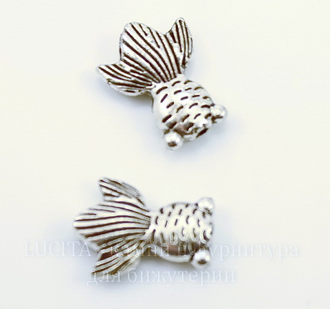"""Бусина металлическая  """"Рыбка""""  (цвет -античное серебро ) 15х11 мм"""