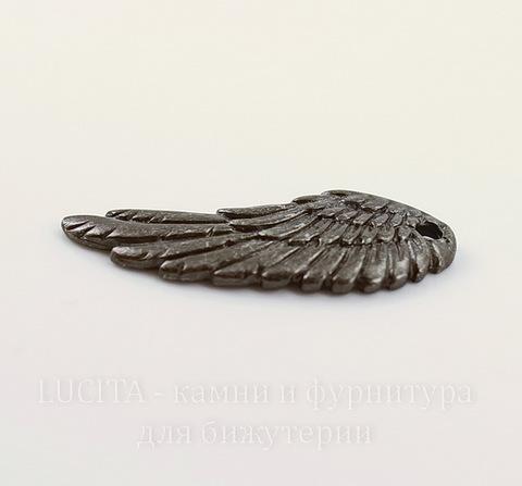 """Подвеска TierraCast """"Крыло"""" (цвет-черный никель) 28х11 мм"""