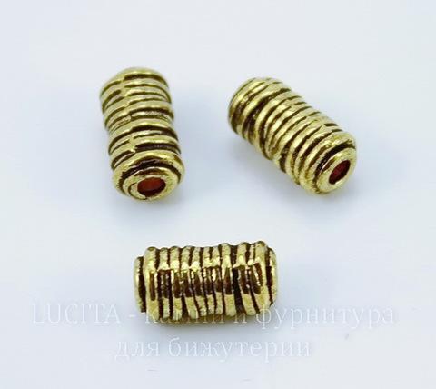 "Бусина металлическая трубочка ""Катушка ниток"" (цвет - античное золото) 11х6 мм"
