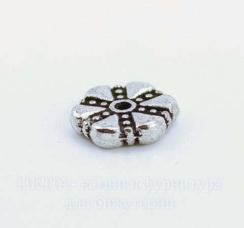 """Бусина металлическая - спейсер """"Цветок""""(цвет - античное серебро) 11х3 мм"""