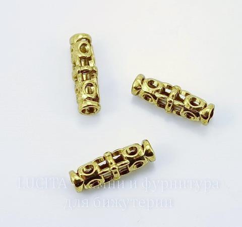 Бусина металлическая трубочка (цвет - античное золото) 18х7 мм