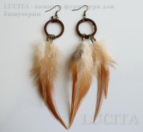 Серьги с перьями на колечке , цвет швенз - бронза , цвет пера - коричневый