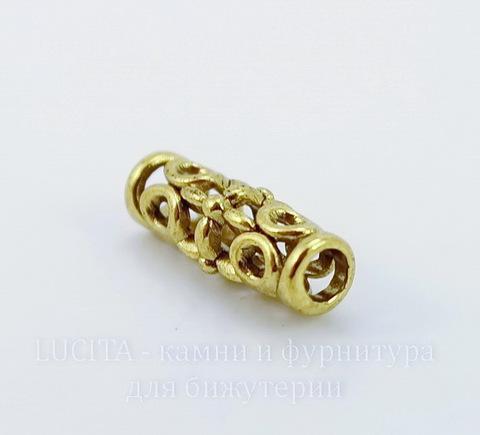 Бусина металлическая трубочка (цвет - античное золото) 18х7 мм ()