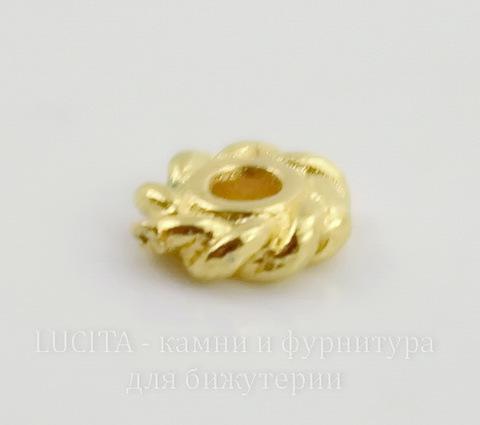 "Бусина - спейсер TierraCast ""Твист"" 4х1,4 мм (цвет-золото), 5 штук"