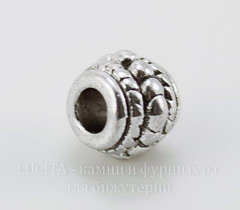 Бусина металлическая с узором 8х7 мм (цвет - античное серебро), 10 штук ()