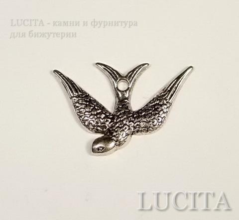 "Подвеска ""Ласточка"" (цвет - античное серебро) 25х17 мм ()"