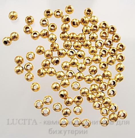 Бусина металлическая круглая (цвет - золото) 8 мм, 10 штук