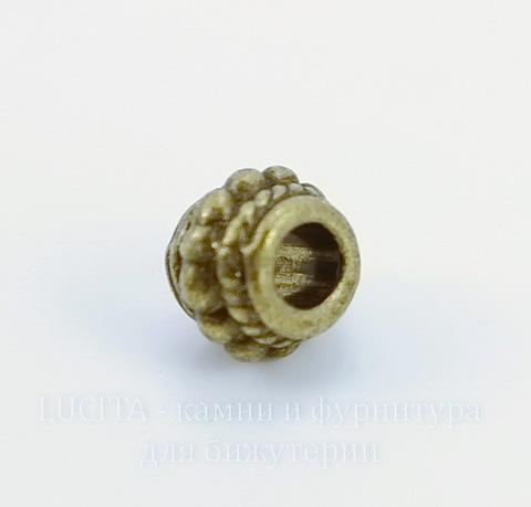 Бусина металлическая с узором (цвет - античная бронза) 8х6 мм, 10 штук ()