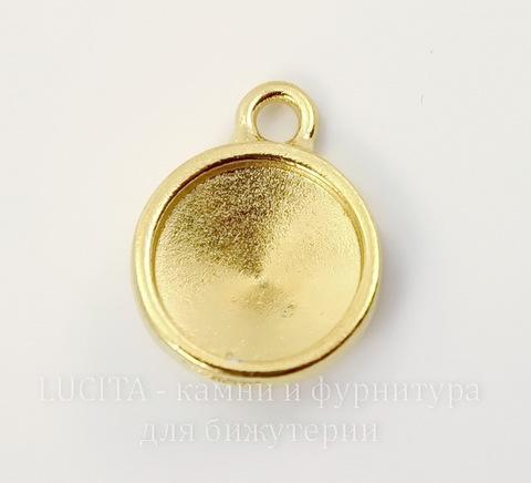 """Сеттинг - основа - подвеска TierraCast """"Грани"""" для страза 10 мм (цвет-золото)"""