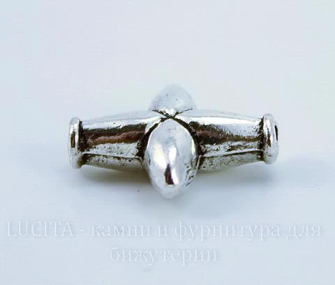 """Бусина металлическая """"Крестик"""" (цвет - античное серебро) 14х12 мм"""