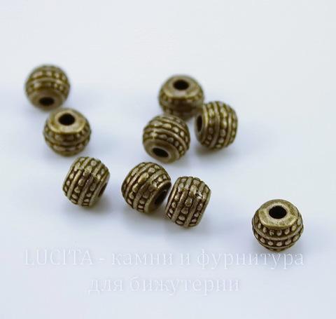 Бусина металлическая - рондель с узорами (цвет - античная бронза) 7х5 мм, 10 штук