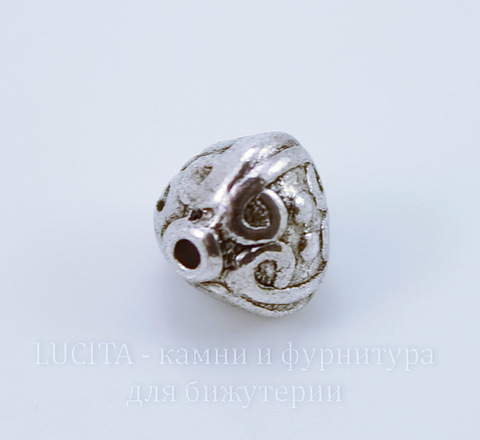 """Бусина металлическая """"Фонарик"""" (цвет - античное серебро) 9х9 мм"""