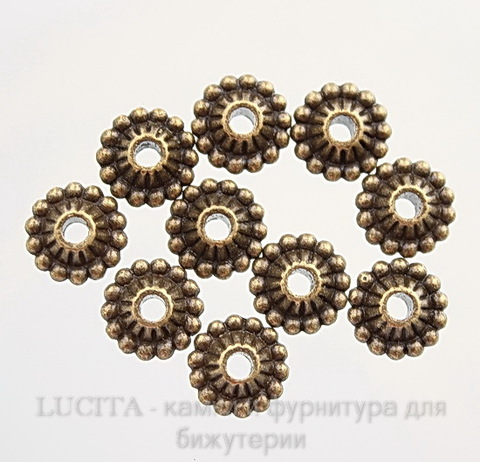 Бусина металлическая (цвет - античная бронза) 11х5 мм, шт