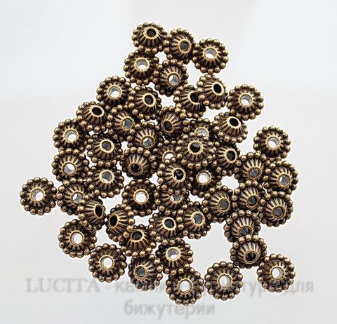 Бусина металлическая (цвет - античная бронза) 11х5 мм, шт ()