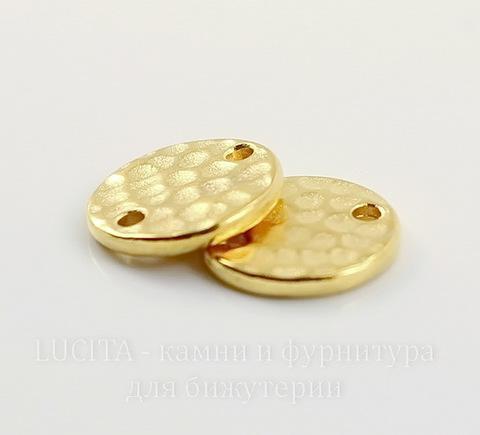 """Коннектор круглый TierraCast """"Hammertone"""" (1-1) 11 мм (цвет-золото)"""